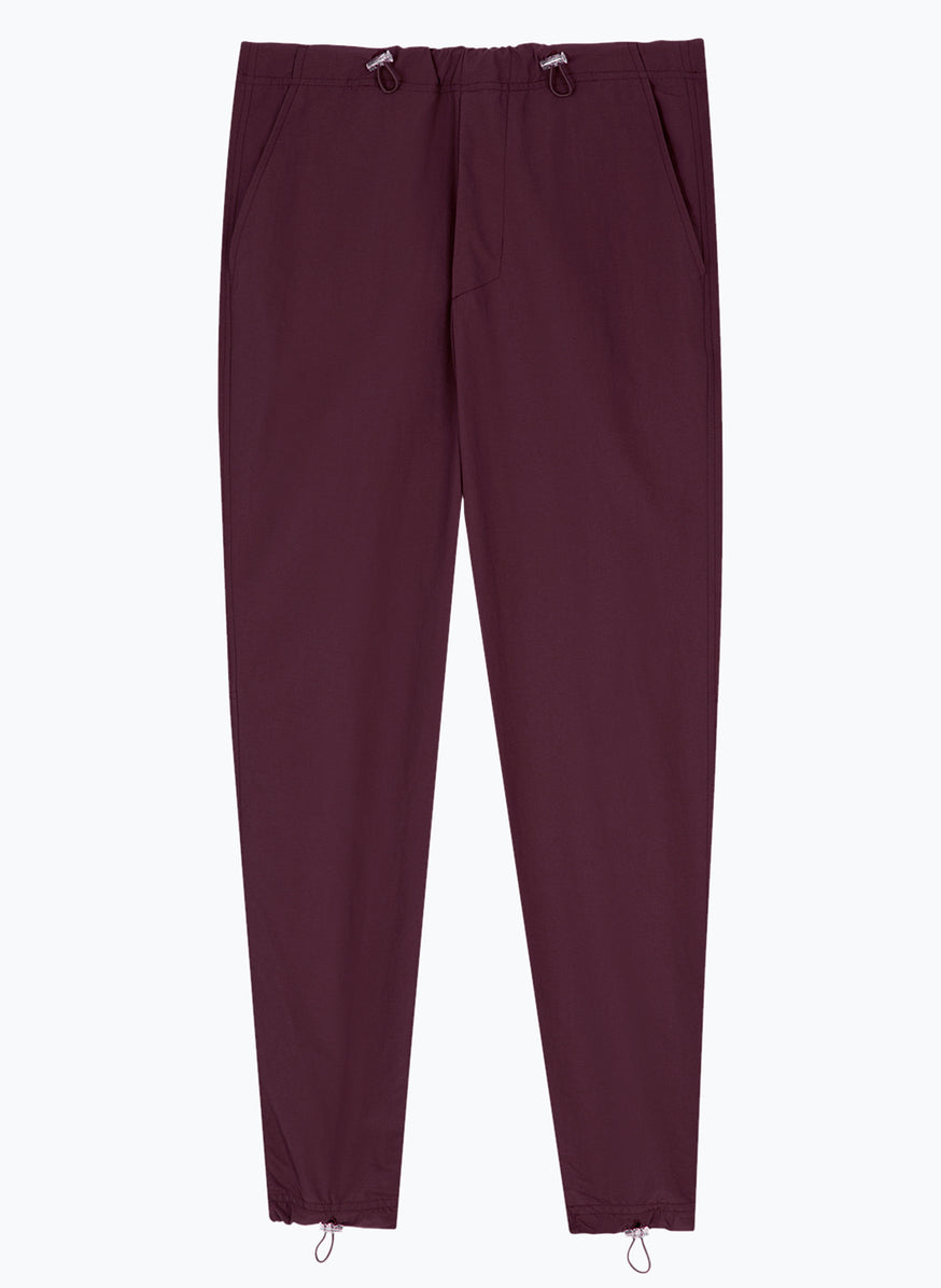 Drawstring Pants in Burgundy Poplin
