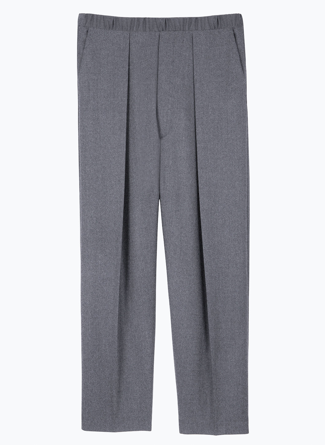 Elastic Waist Pants with Deep Pleats in Grey Flannel Wool