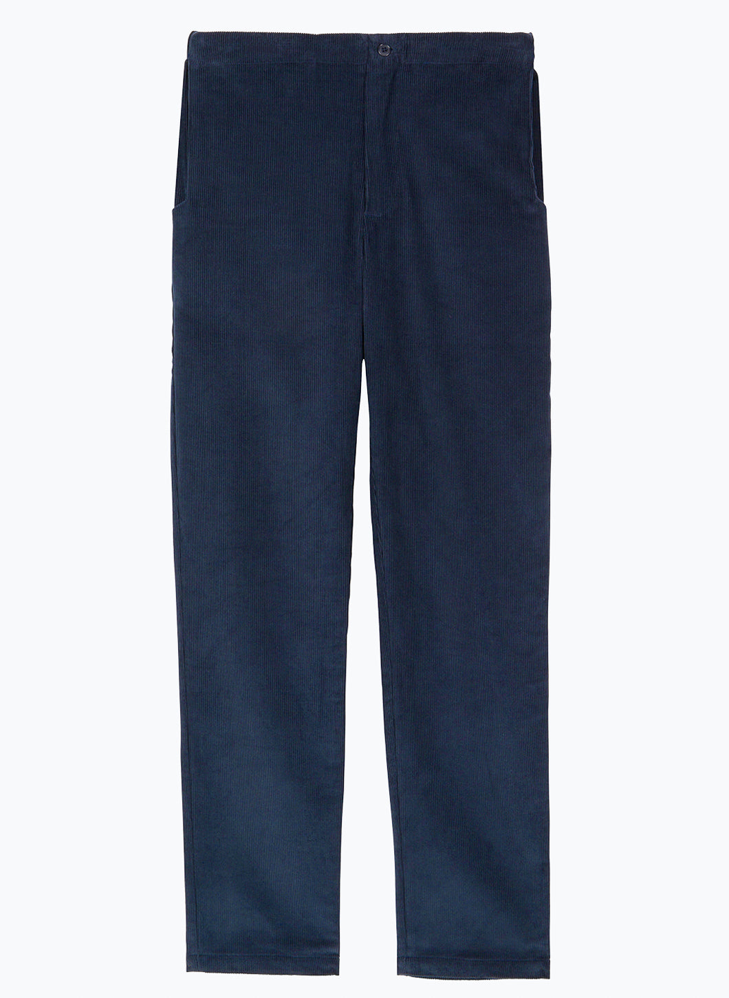 Pants with Notched Pockets in Navy Blue Corduroy
