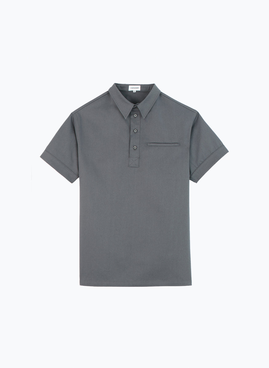 Short Sleeve Poloshirt in Grey Gabardine