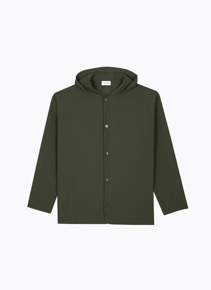 Hooded Overshirt with Rounded Neckline in Olive Technical Fabric