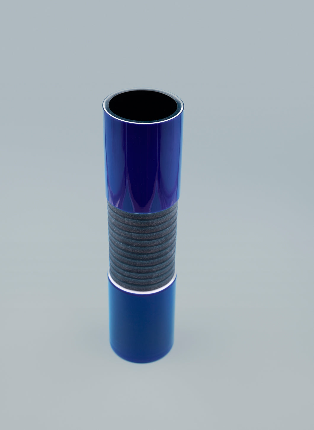Cylindrical Blue Glass Vase