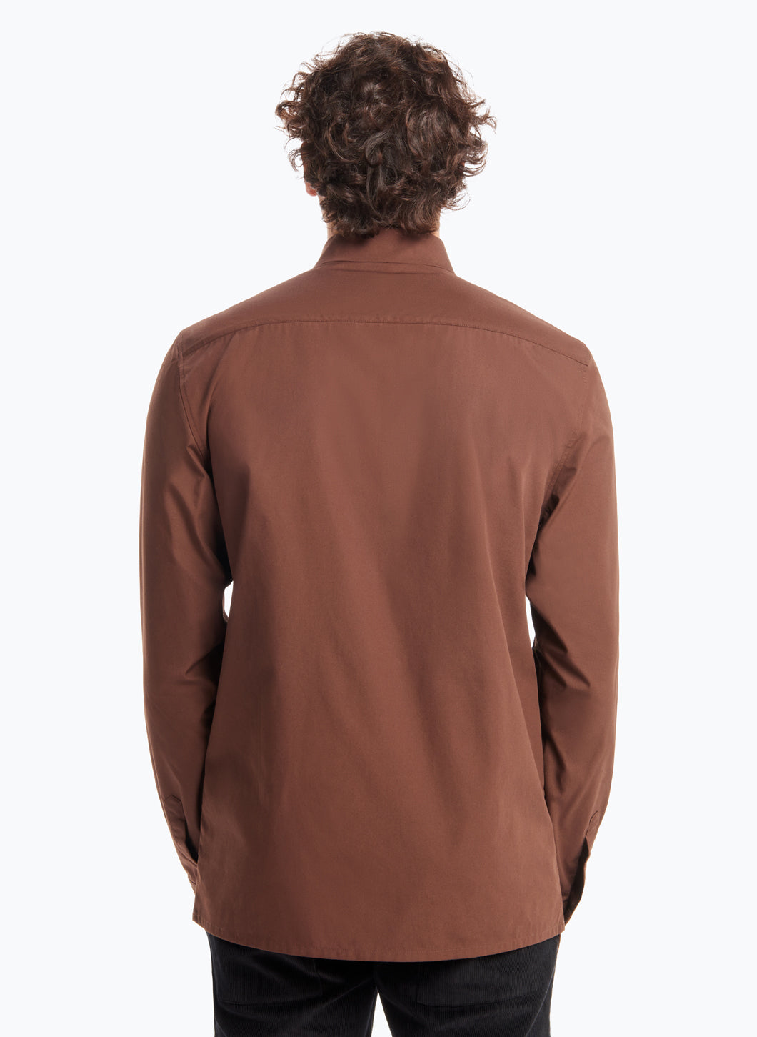 Origami Collar Shirt in Chocolate Poplin