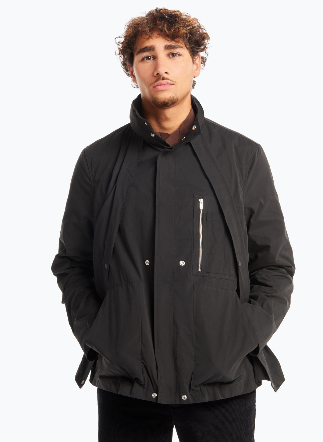 Parka with Hidden Pockets in Black Microfiber