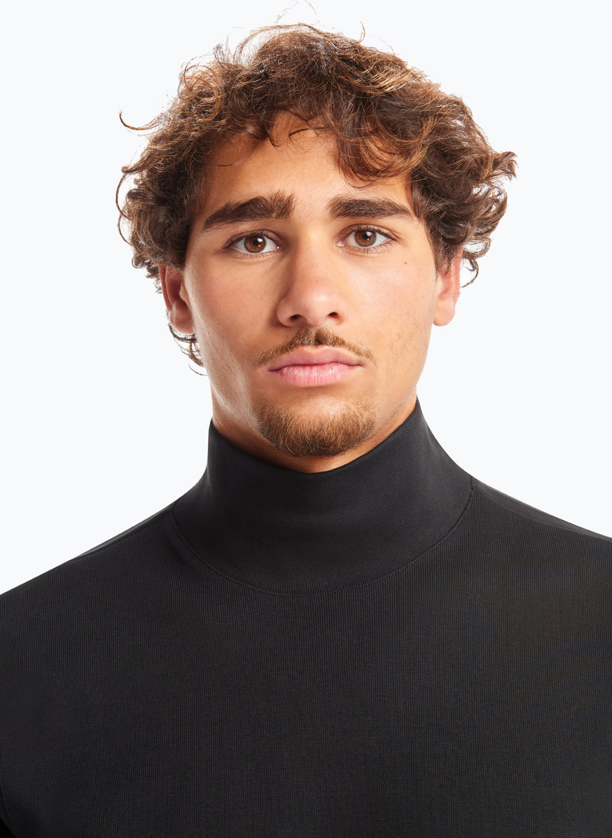 Sweatshirt with Funnel Neck in Black Smooth Jersey