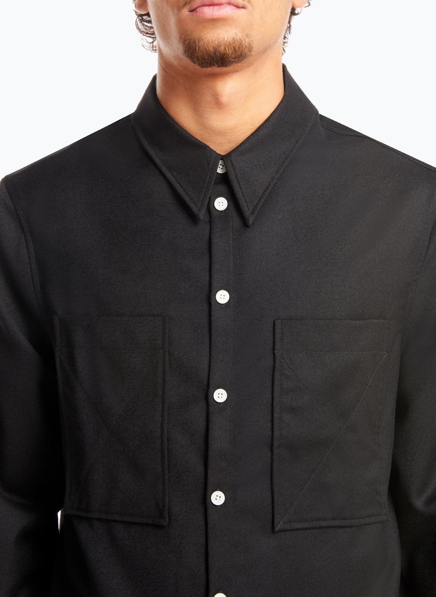 Overshirt with Chest Pockets in Black Flannel Wool