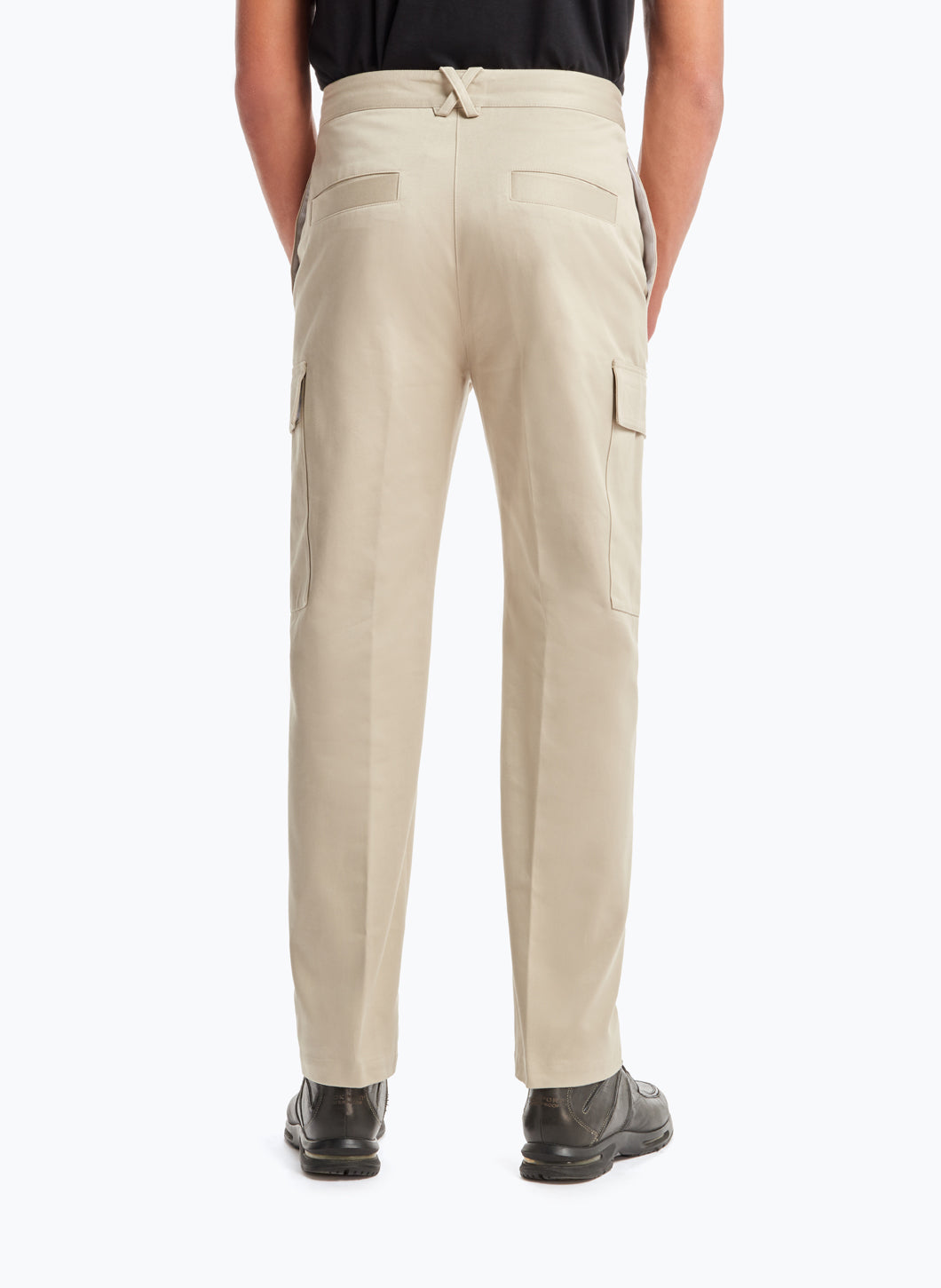 Pants with Cargo Pockets in Beige Cotton Gabardine