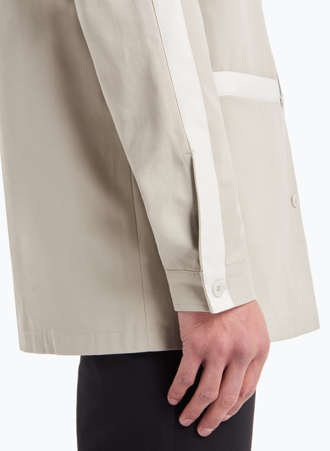 Overshirt with White Trims in Beige Gabardine