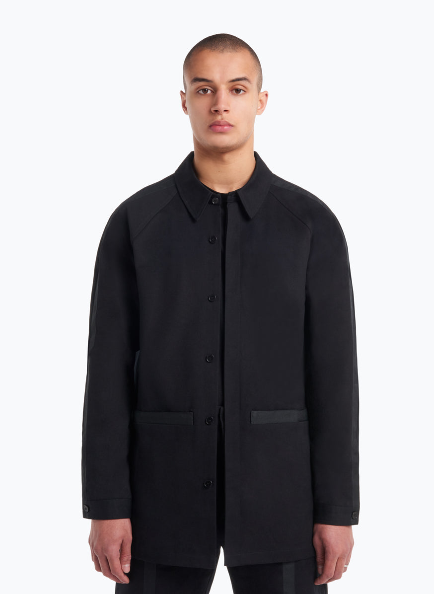 Overshirt with Black Trims in Black Gabardine