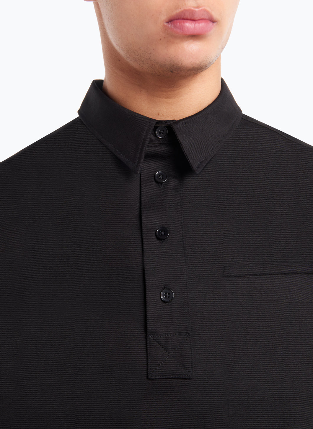 Short Sleeve Poloshirt in Black Gabardine