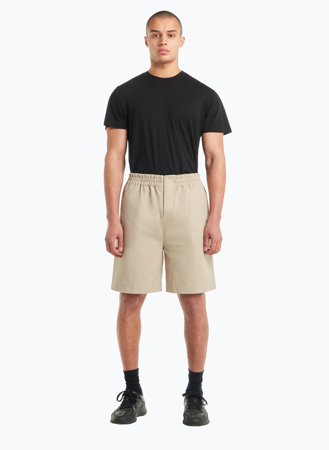 Bermuda Shorts with Stitched Waist in Beige Gabardine