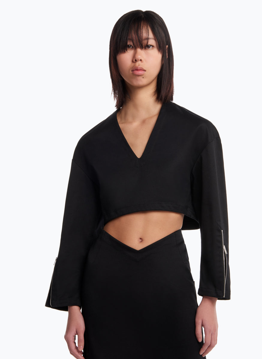 V Neck Croptop in Black Cotton Gabardine