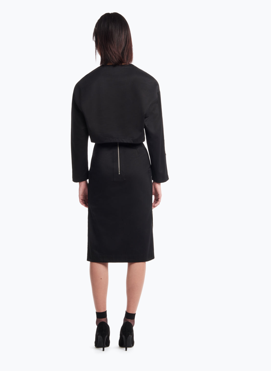 High-Waisted Skirt in Black Cotton Gabardine
