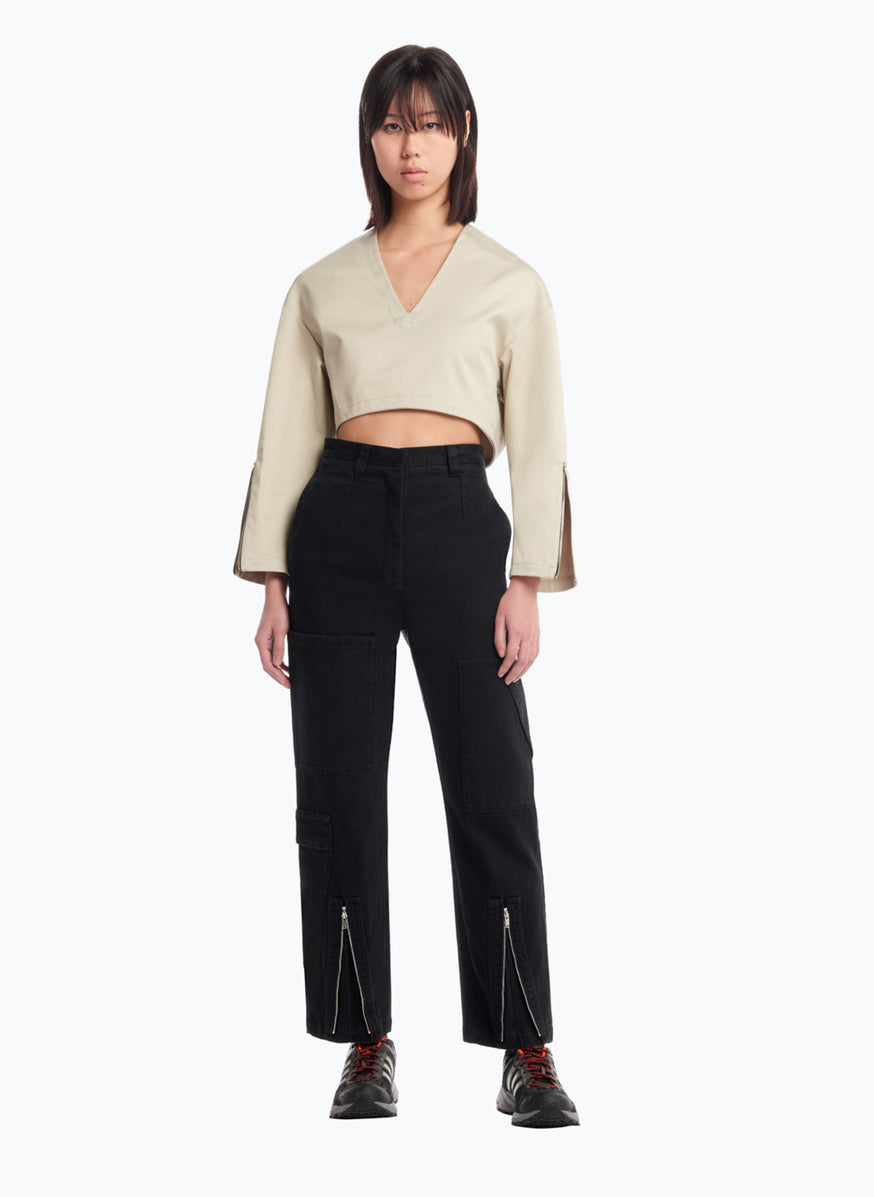 V Neck Croptop in Beige Cotton Gabardine