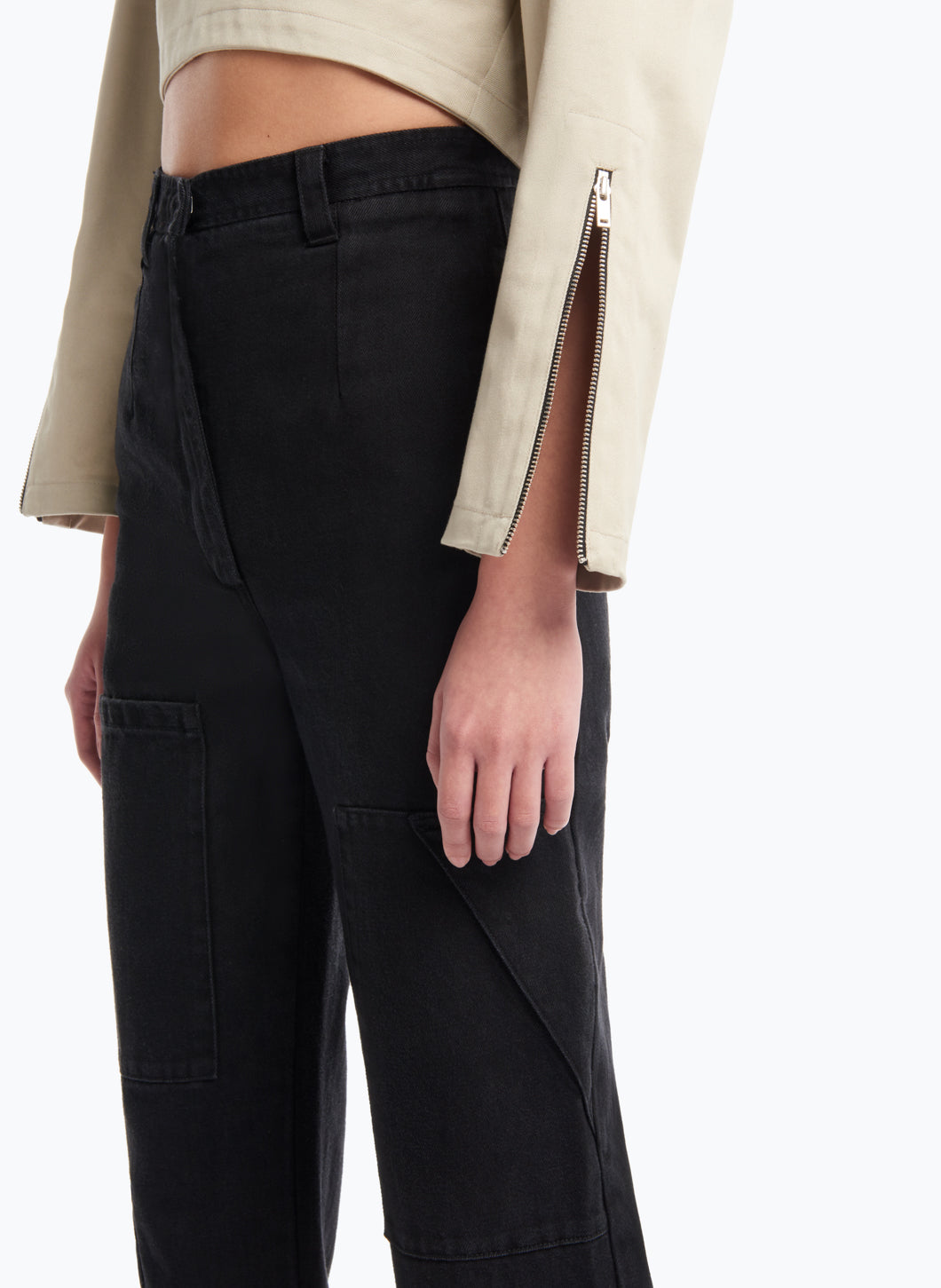 Cargo Pants with Multiple Pockets in Black Denim