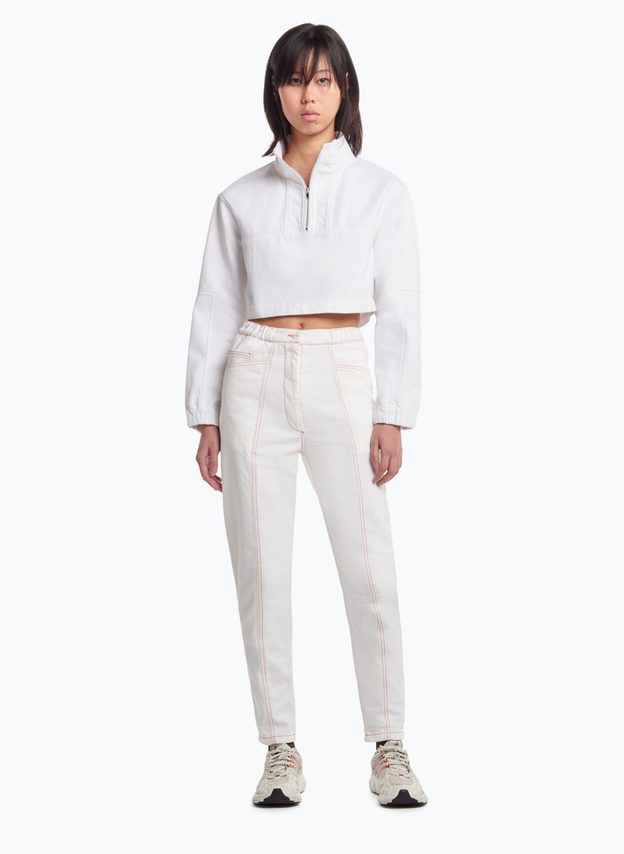 Cropped Funnel-Neck Sweatshirt in White Denim