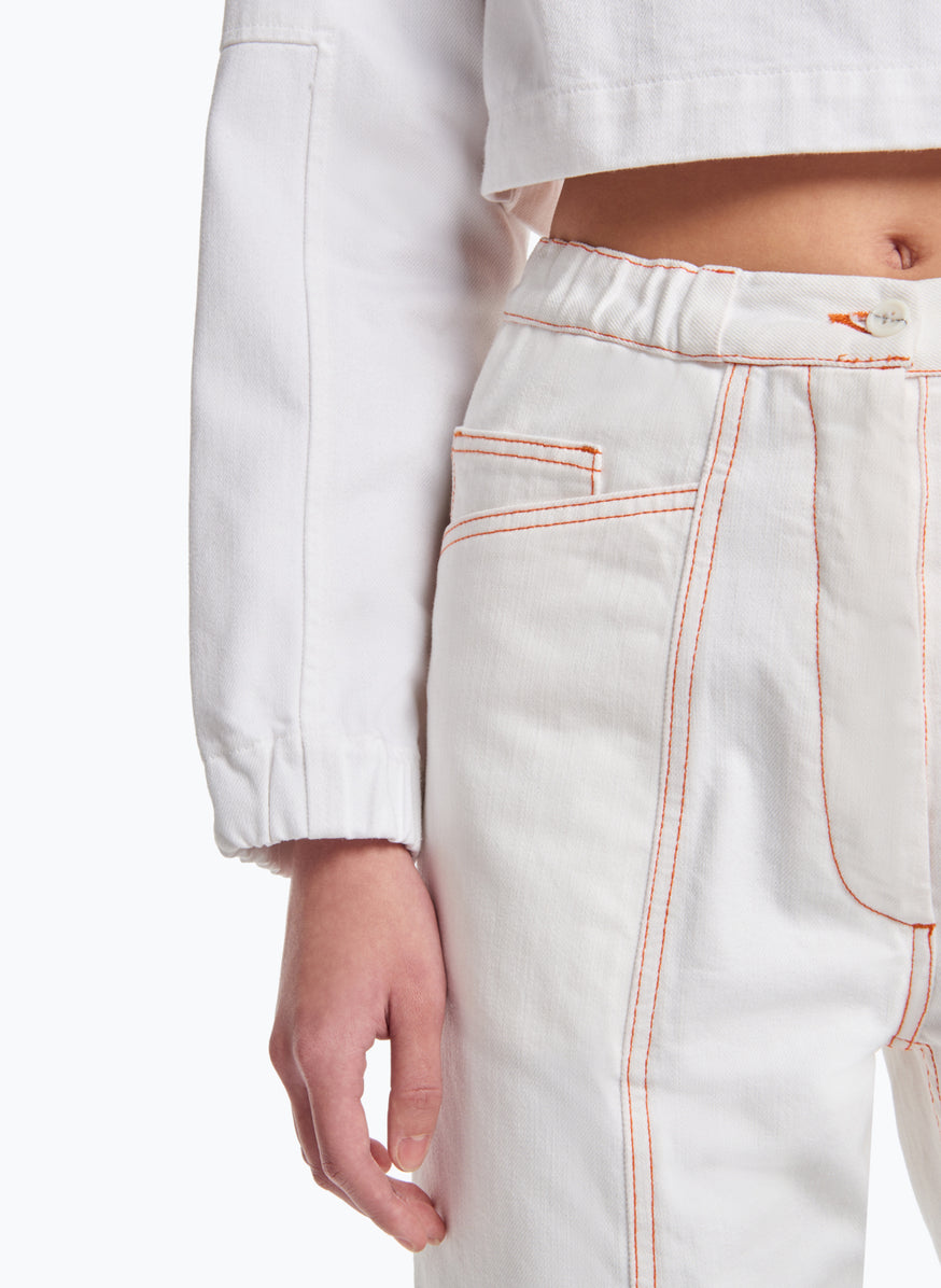 5-Pocket Pants with Front Cuts in White Denim