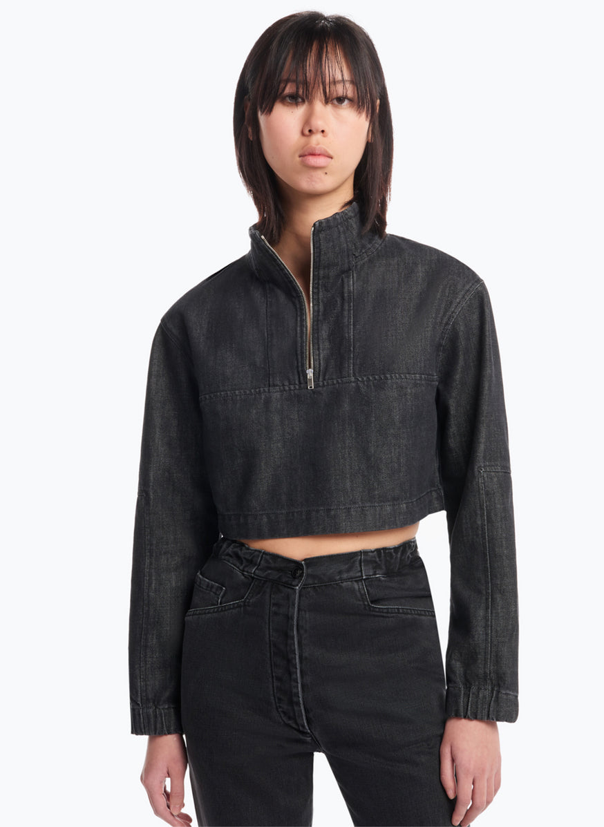 Cropped Funnel-Neck Sweatshirt in Rinsed Denim