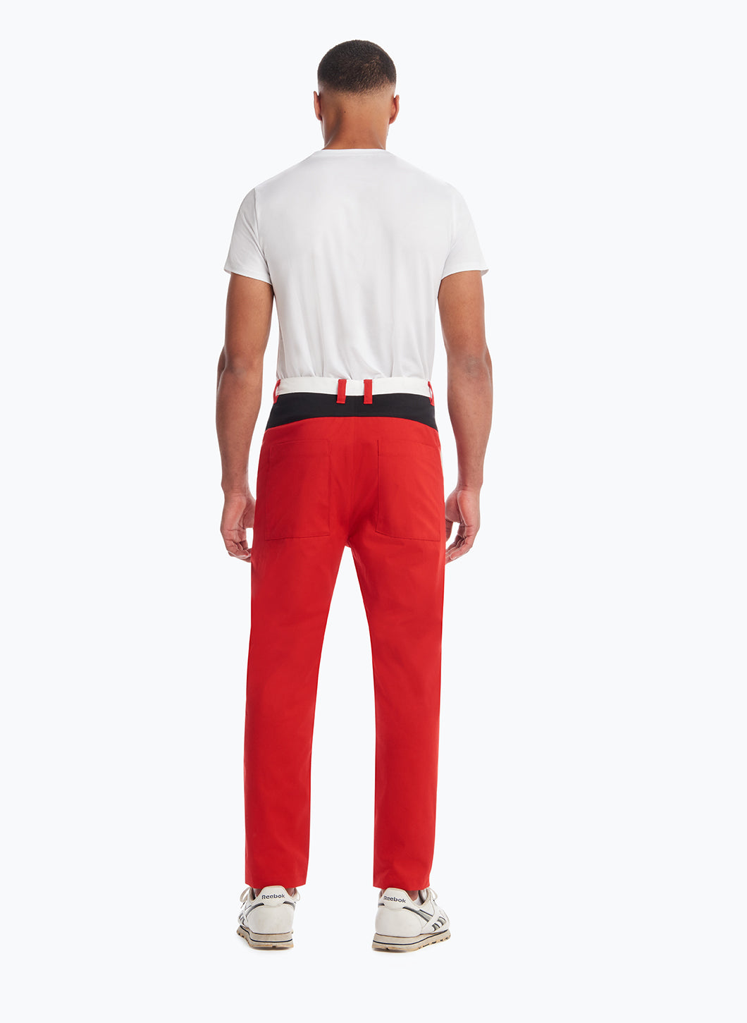 Pants with Asymmetrical Cuts in Red, Black & White Teflon