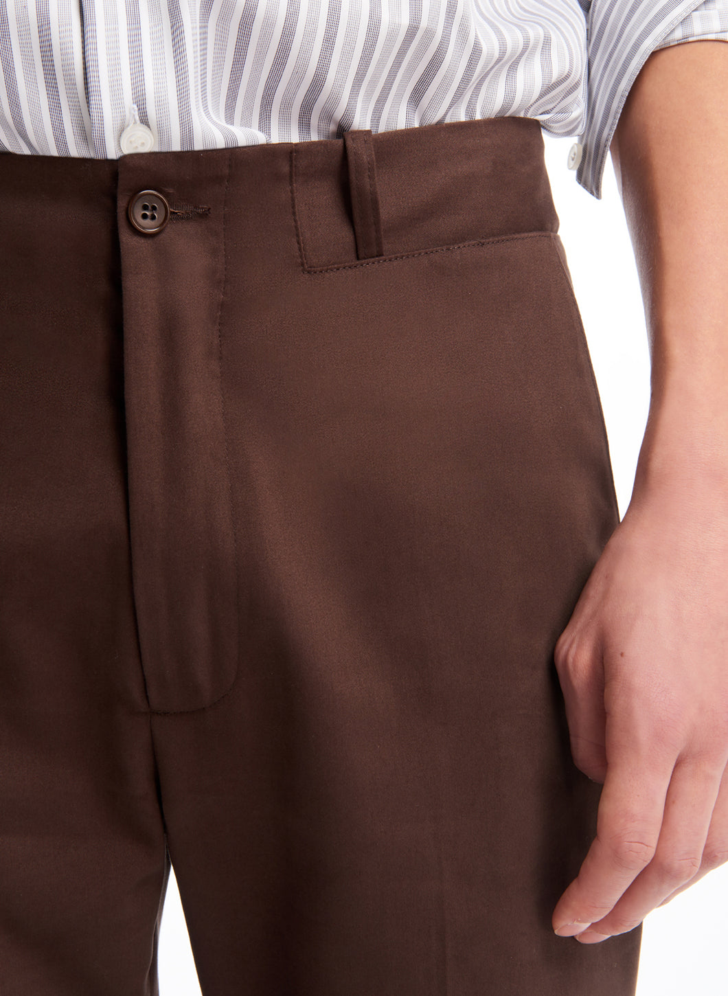 Pants with Inlayed Belt in Chocolate Cotton Satin