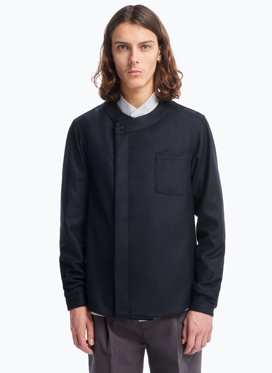 Overshirt with Crossed Crew Neck in Black Flannel Wool