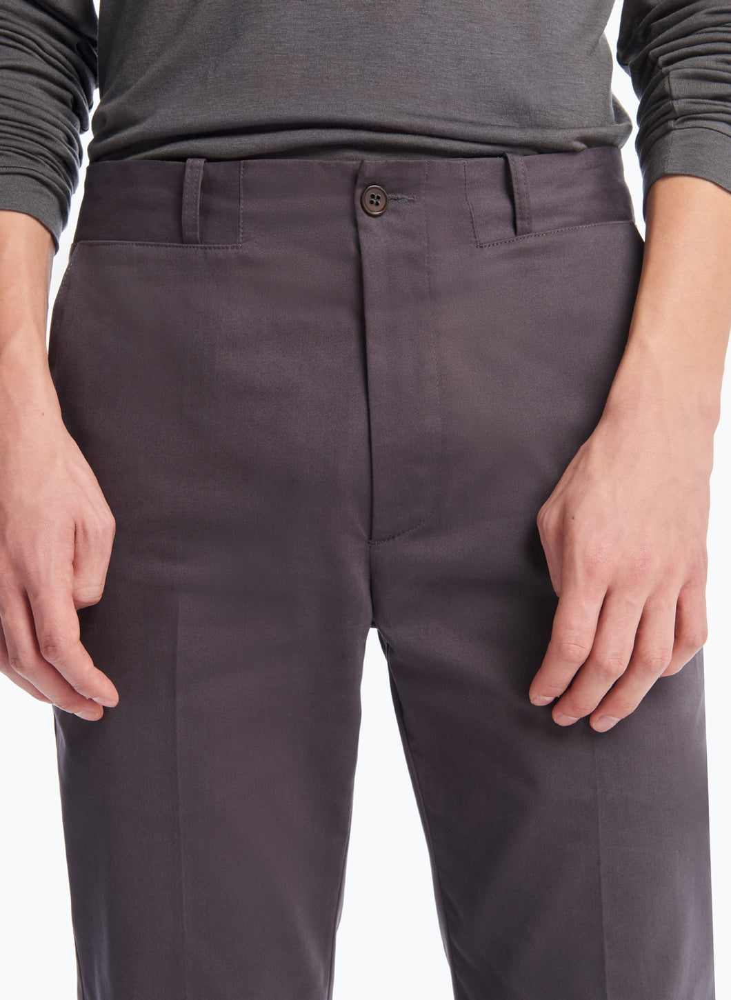 Pants with Inlayed Belt in Slate Grey Cotton Satin