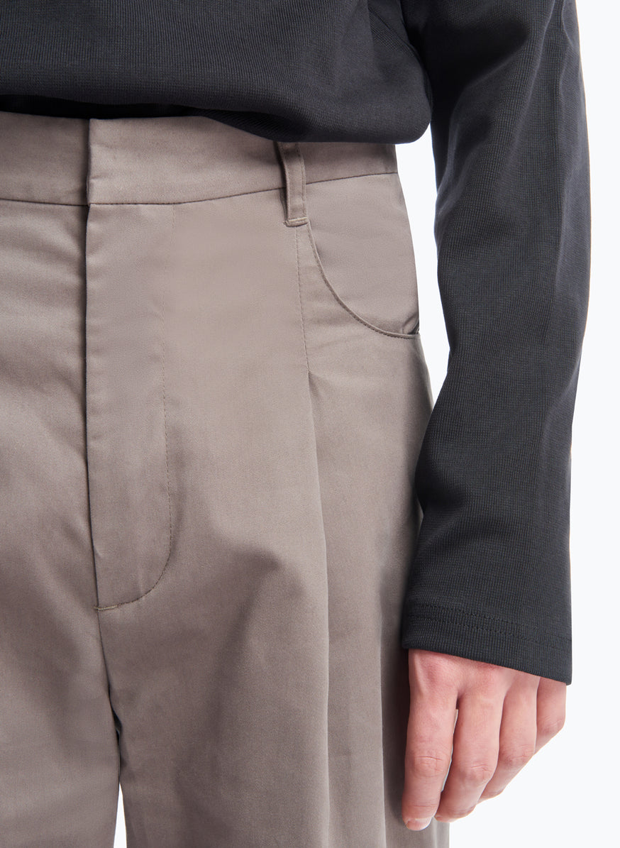 Pants with Hip Pockets in Olive Grey Cotton Satin