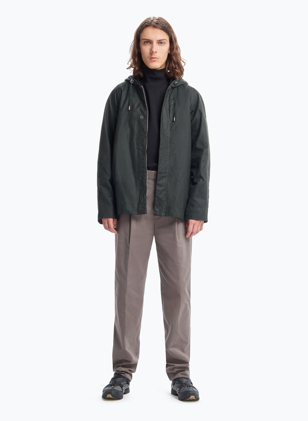 Raglan Sleeve Parka in Dark Green Waxed Cotton Twill
