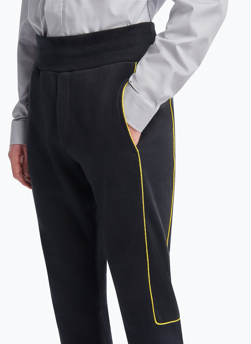 Sweat Pants with Side Cuts in Black Fleece with Yellow Trim