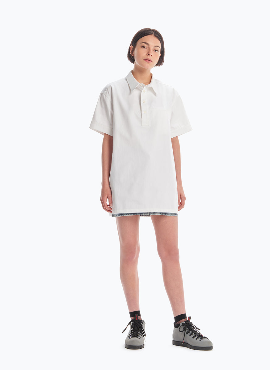 Short Sleeve Poloshirt in White Gabardine