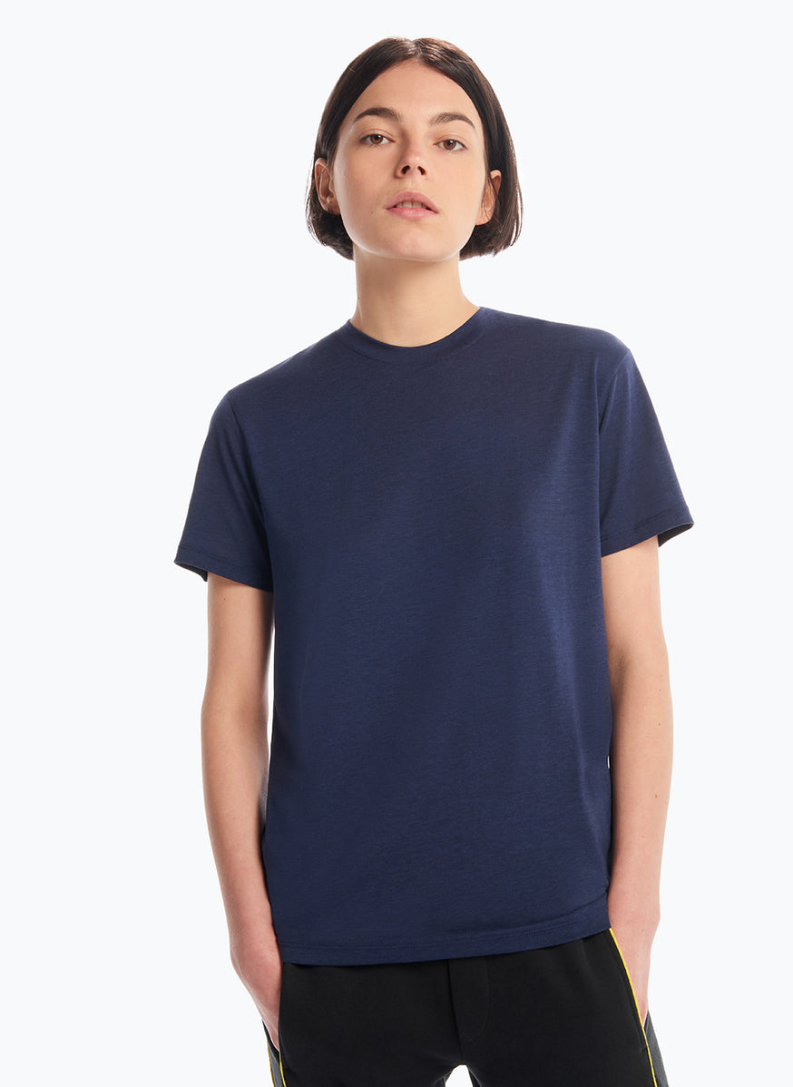Short Sleeve Crew Neck T-Shirt in Navy Blue Tencel