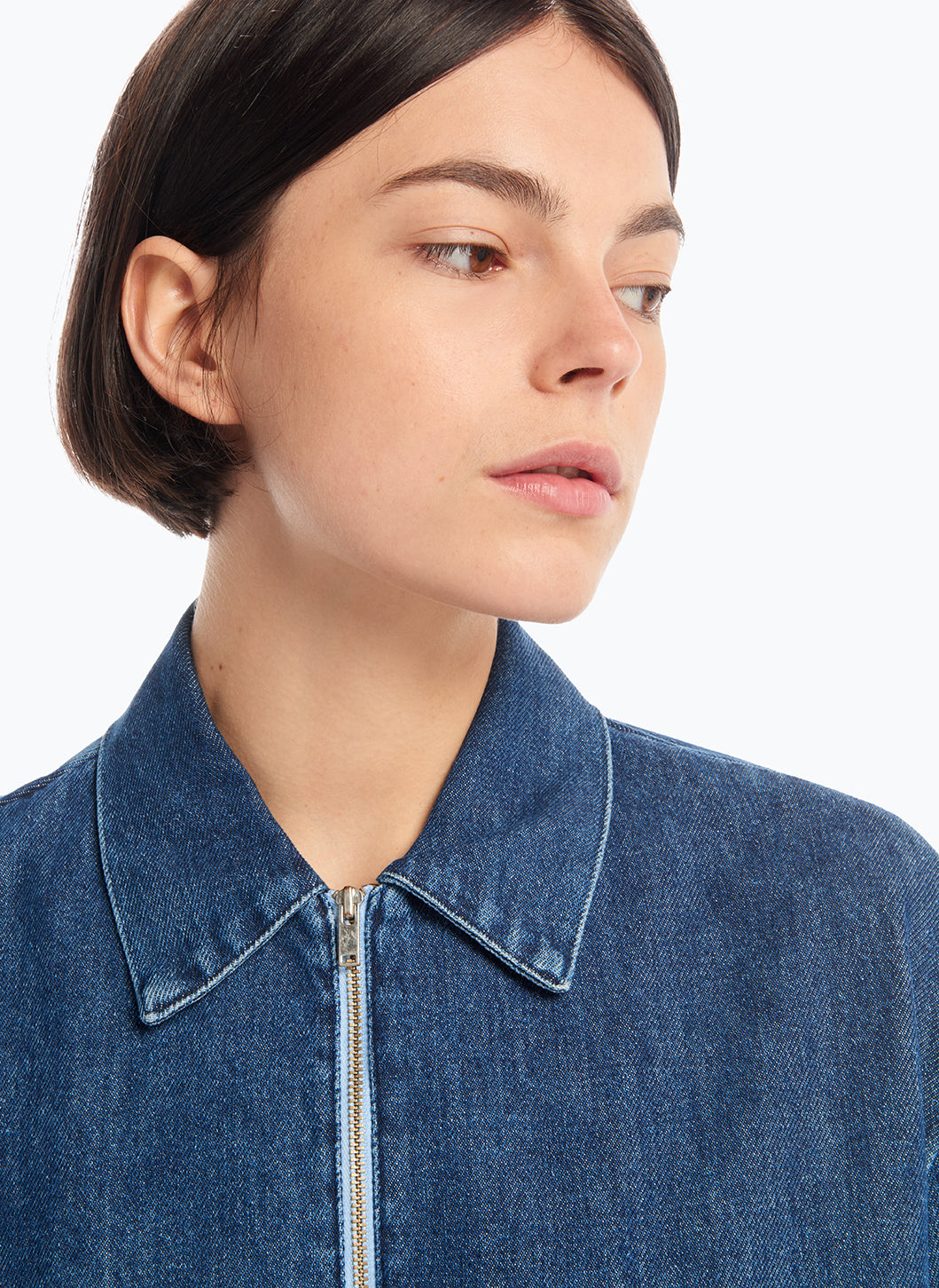 Poloshirt with Stitched Pockets in Stoned Denim