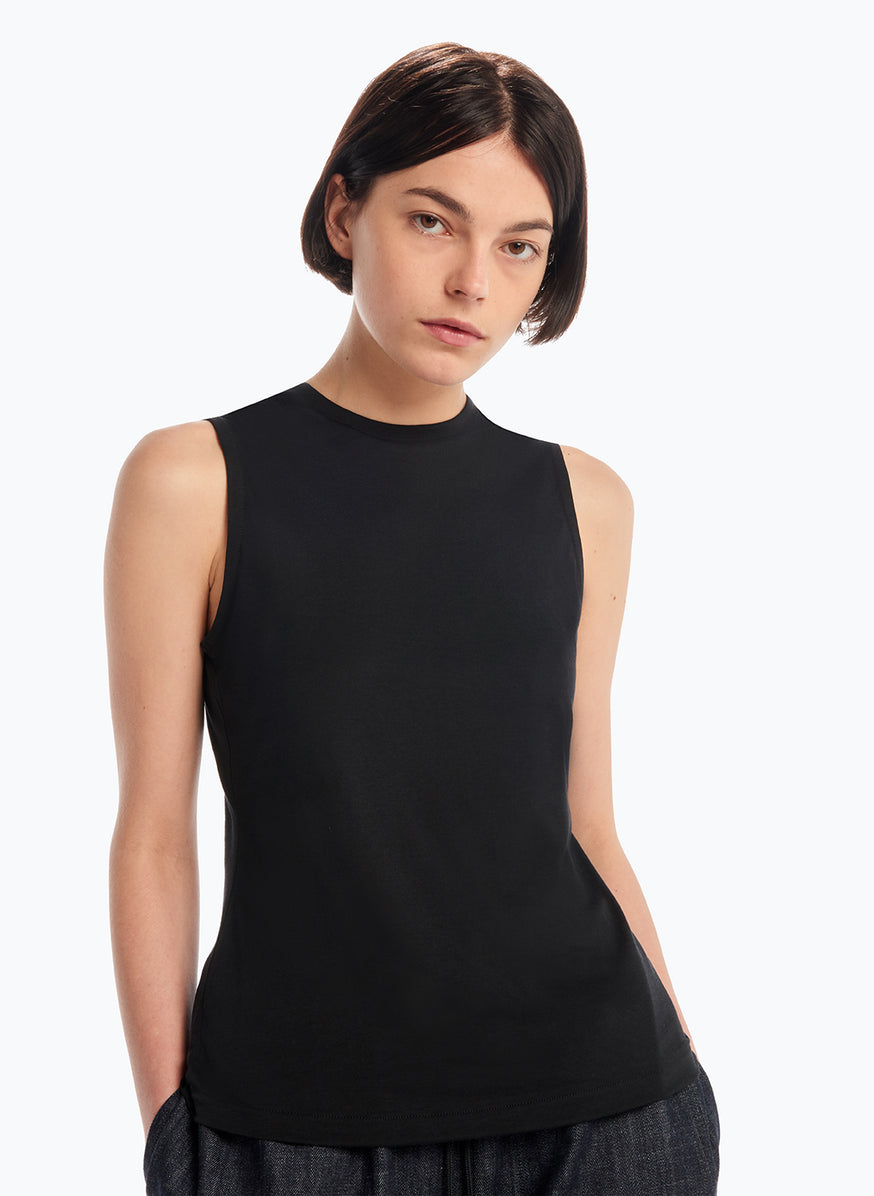 Sleeveless Top in Black Tencel