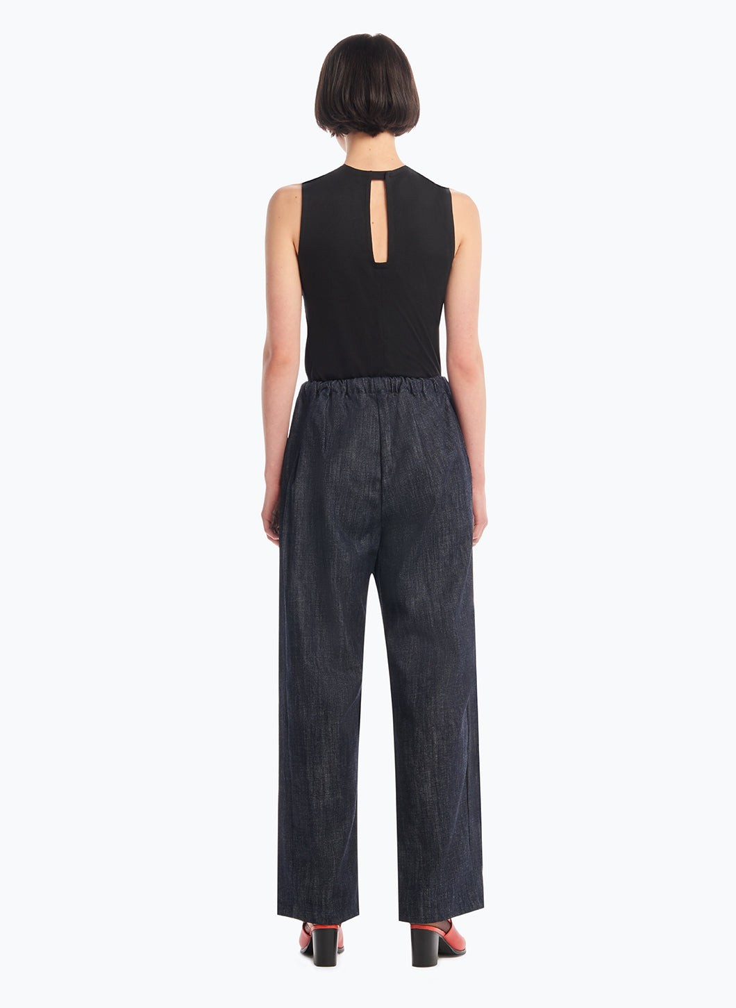 Elastic Waist Pants with Tie in Rinsed Denim