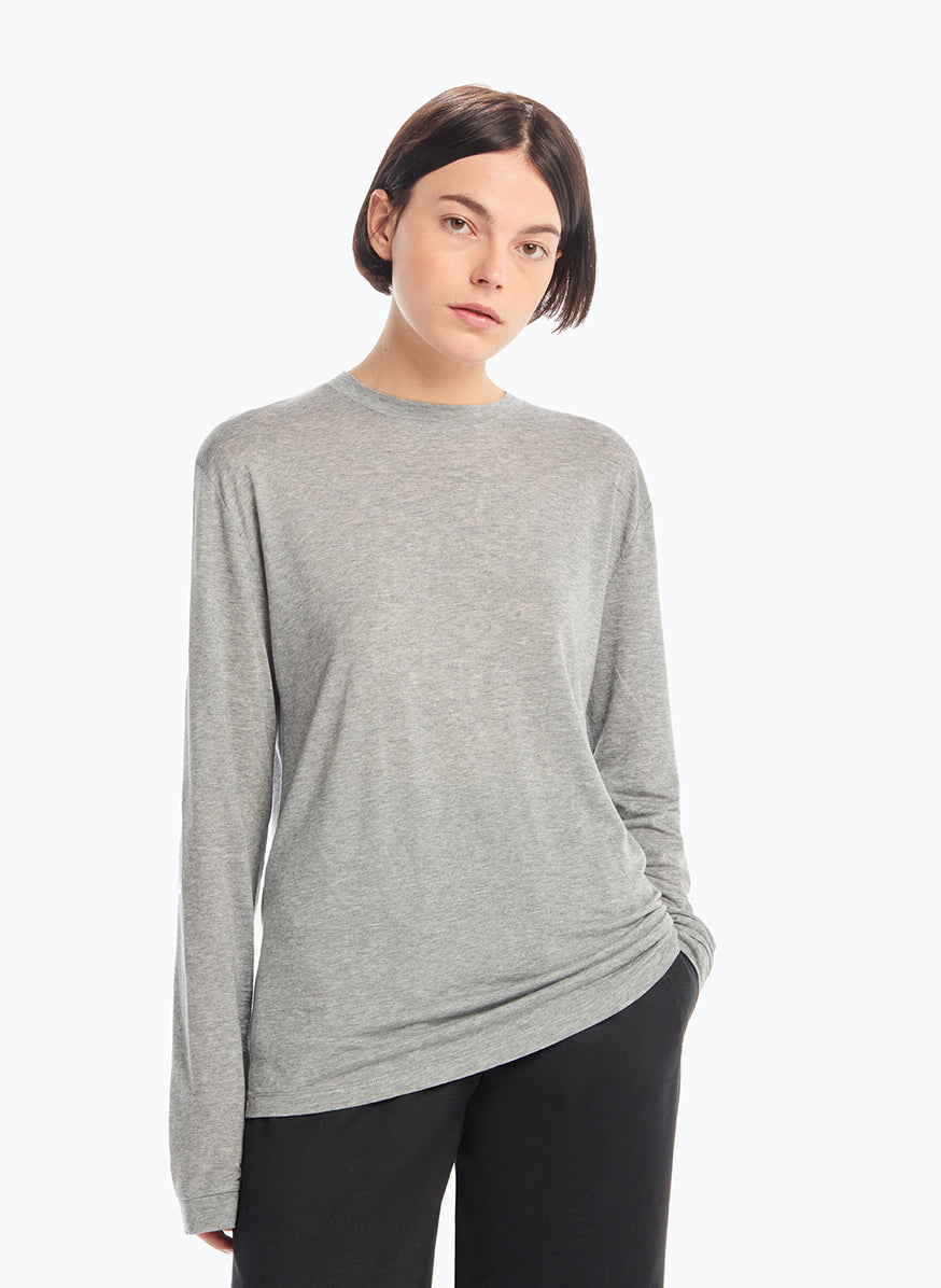Long Sleeve Crew Neck T-Shirt in Heather Grey Tencel