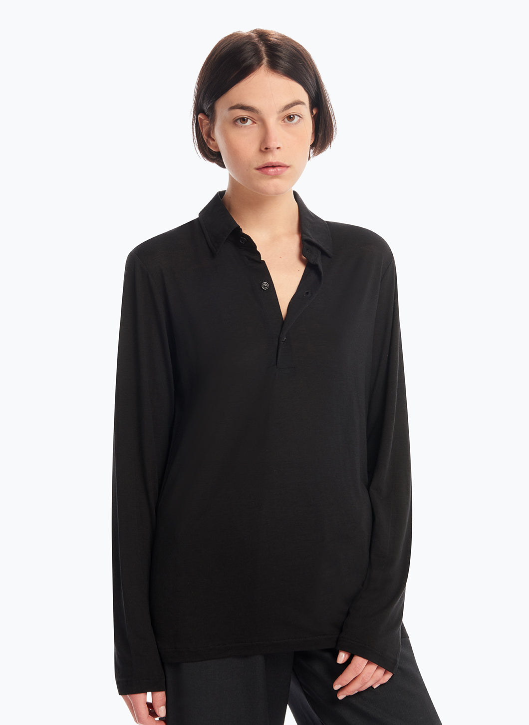 Long Sleeve Poloshirt in Black Tencel