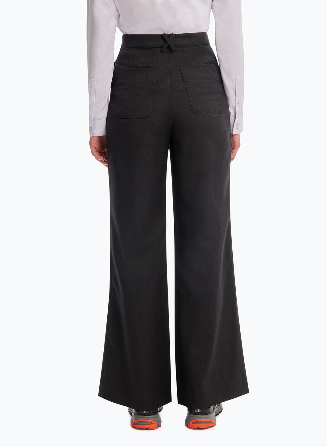 Flared Pants in Dark Grey Cool Wool