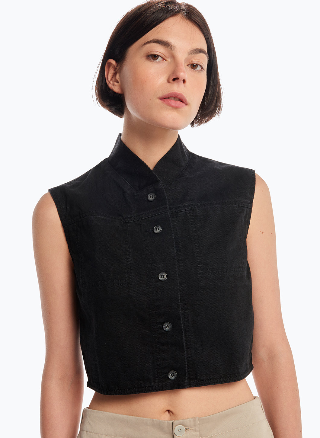 False Collar Vest in Black Denim