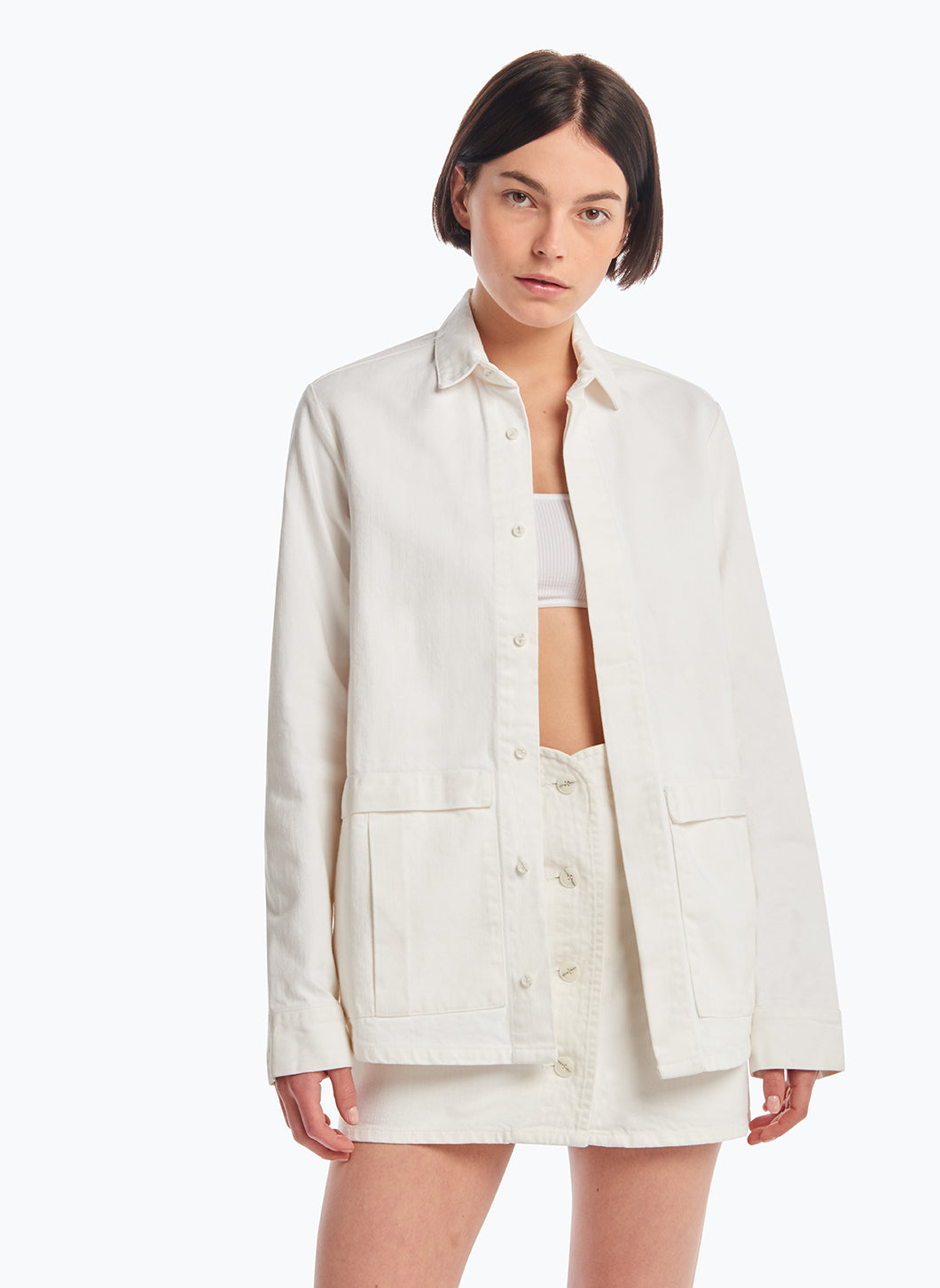 Jacket-Shirt with Flap Pockets in White Denim