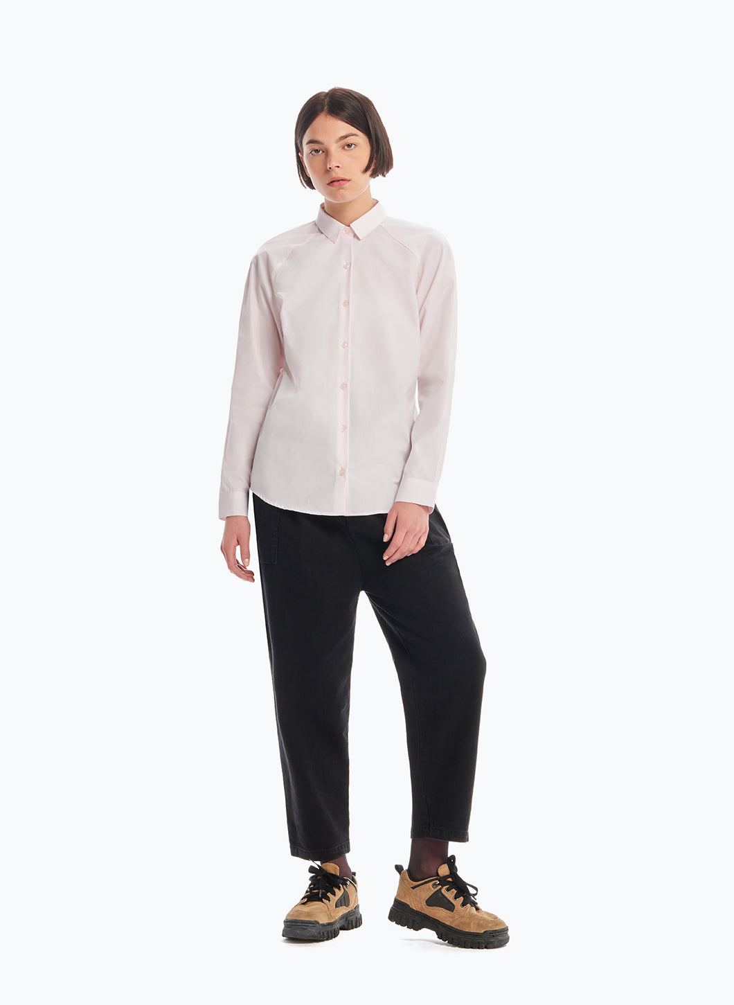Raglan Sleeve Shirt in Pink Poplin