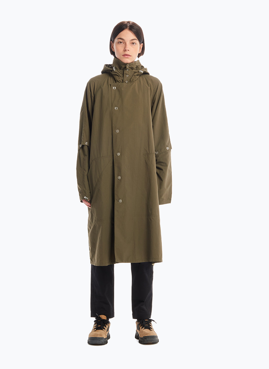 Hooded Overcoat in Olive Microfiber Fabric