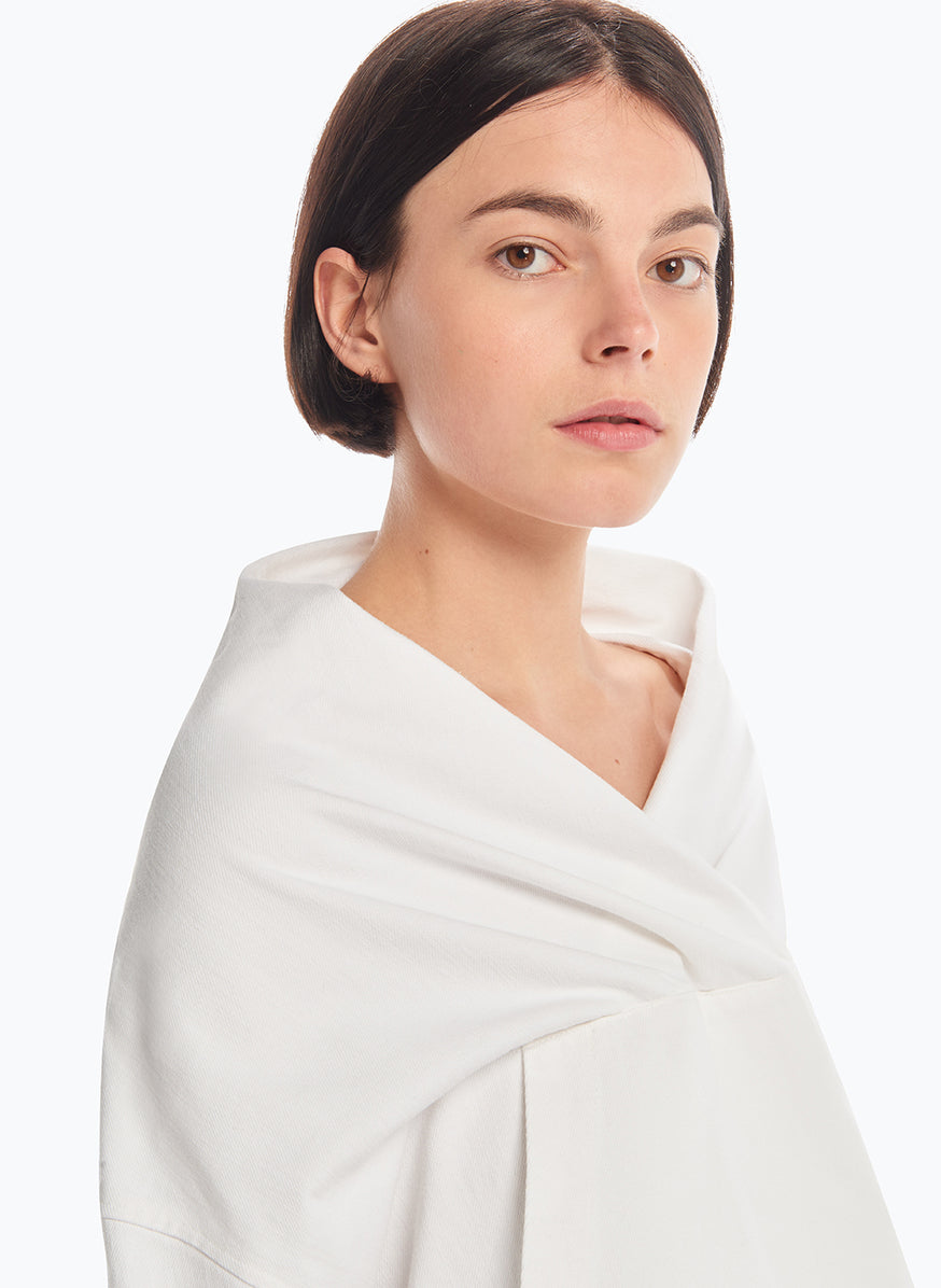 Sweatshirt with Draped Collar in White Denim