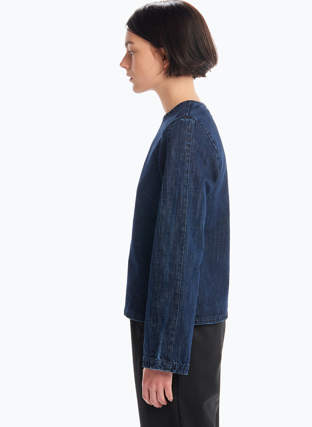 Top with Flared Sleeves in Stoned Denim