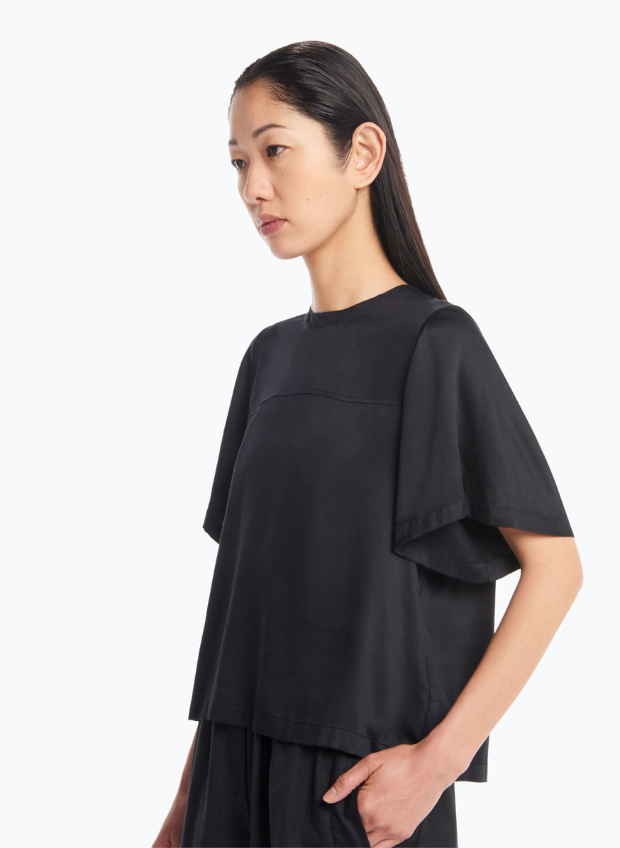 Butterly Sleeve Top in Black Viscose Satin