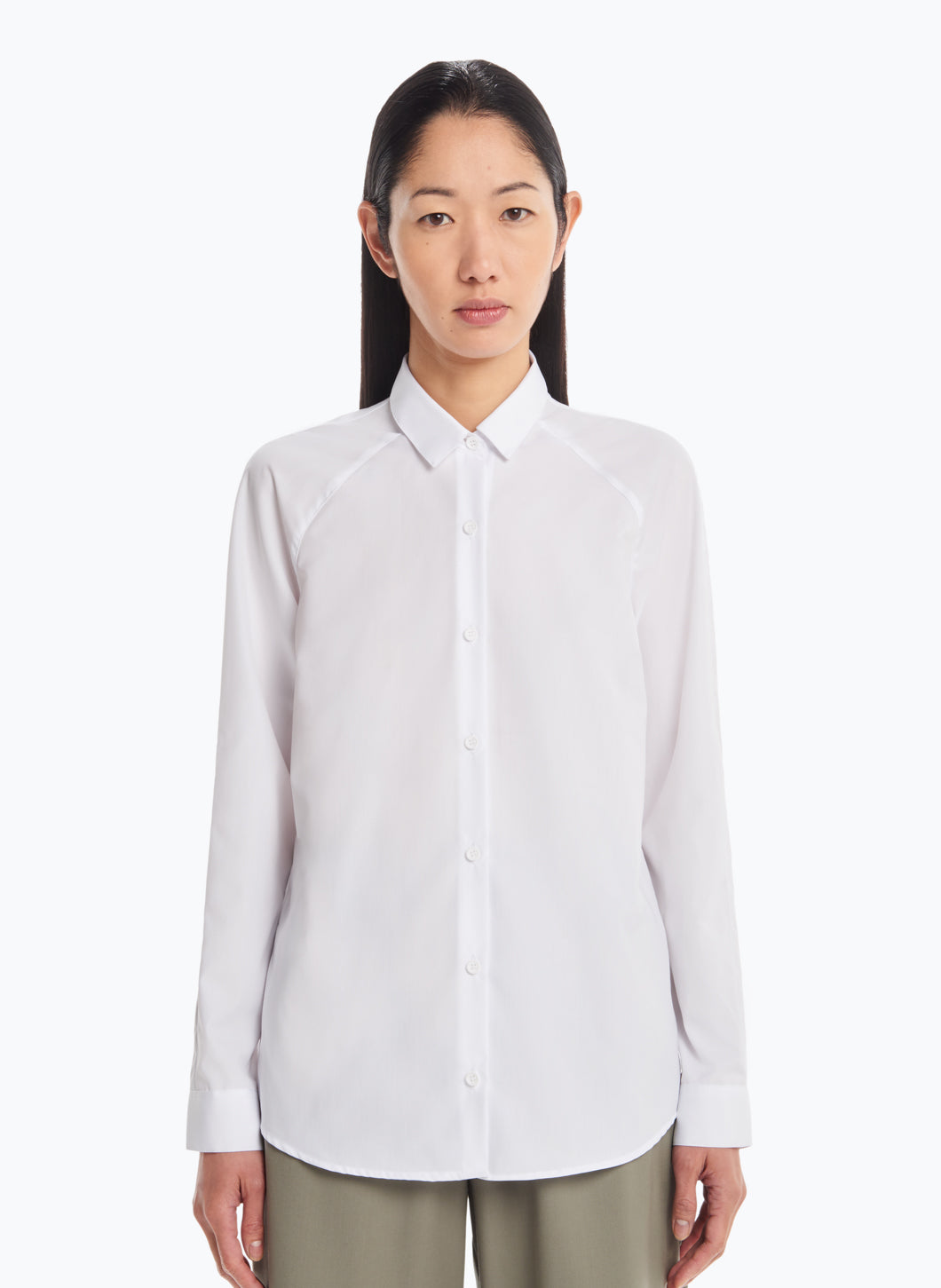 Raglan Sleeve Shirt in White Poplin