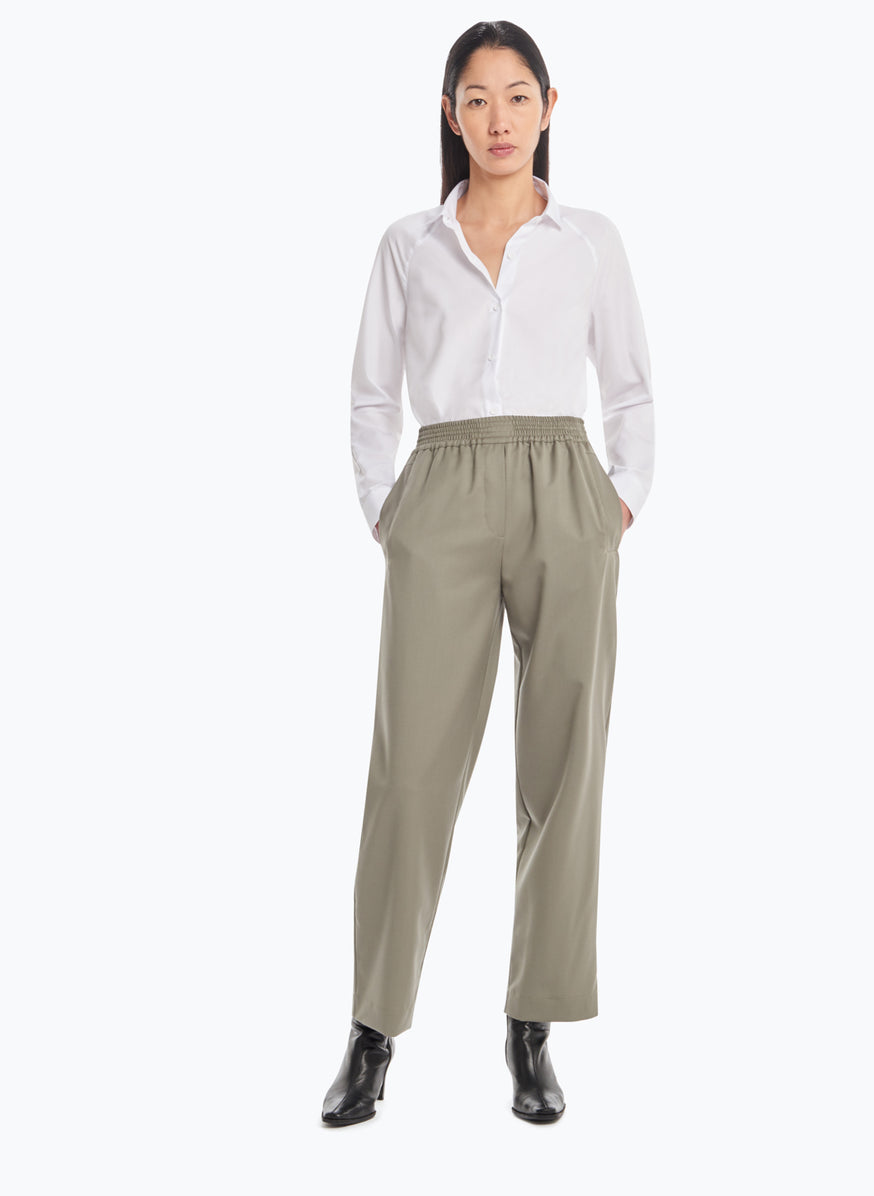 Pants with Large Elastic Waist in Clay Cool Wool