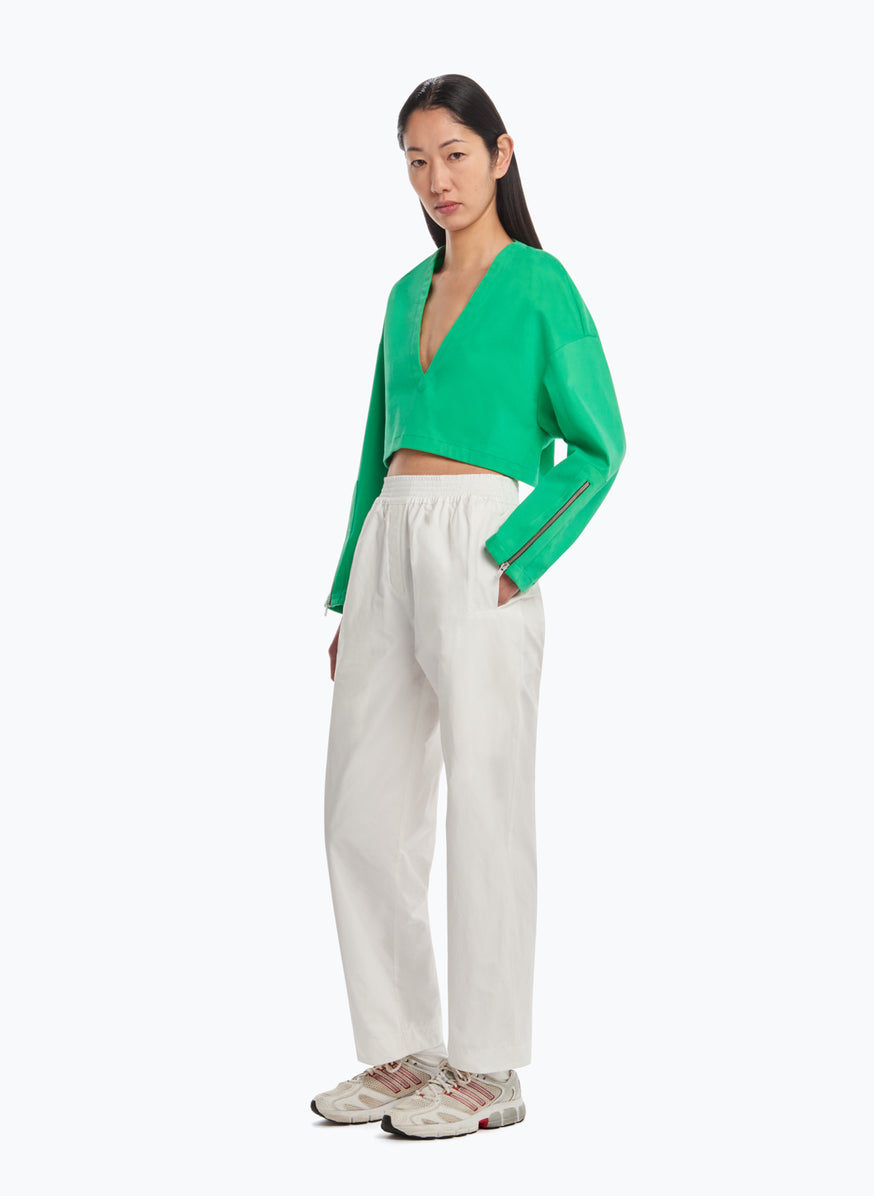 Pants with Large Elastic Waist in White Microfiber Fabric