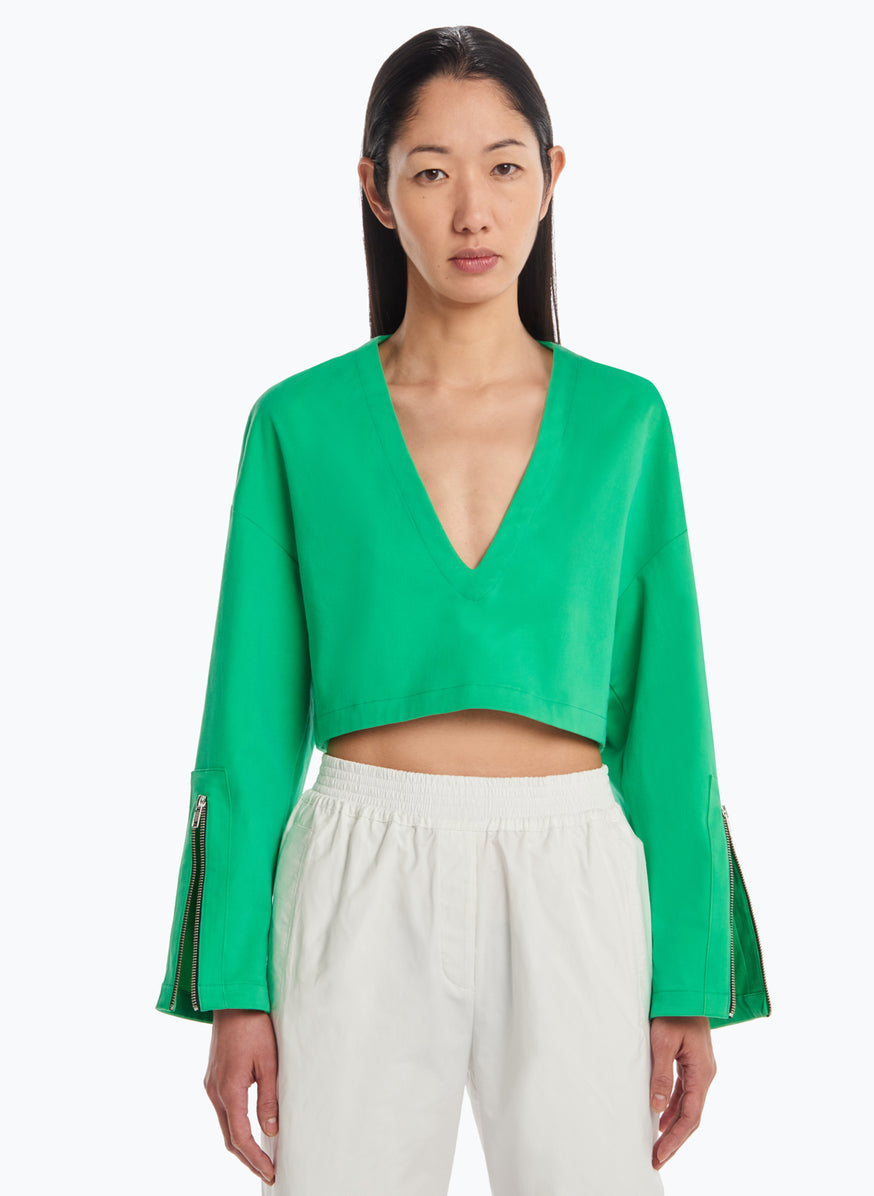 V Neck Croptop in Green Cotton Gabardine