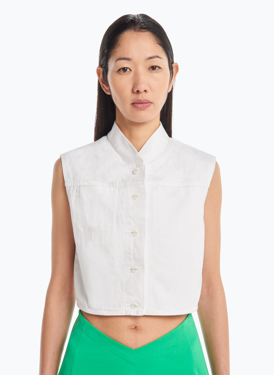False Collar Vest in White Denim