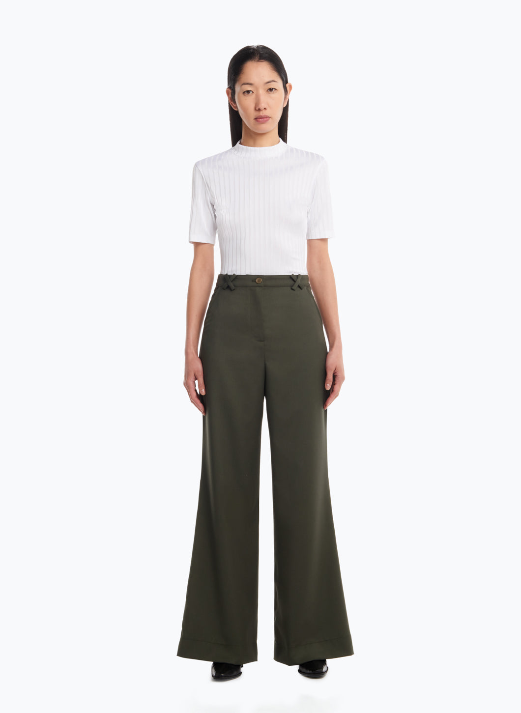 Flared Pants in Forest Green Cool Wool